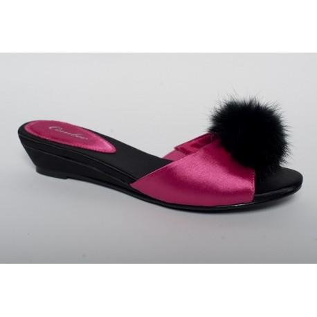 Pantofel na płaskim koturnie 102 Fuksja z Czernią