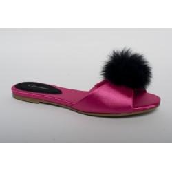 Pantofle domowe płaskie 105 Fuksja