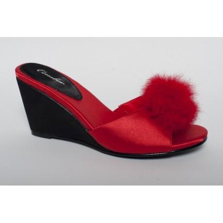 Pantofel na wysokim koturnie 110 Czerwień